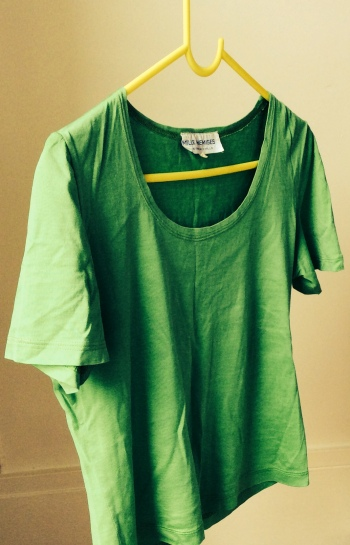 """Green T-shirt (50 years, two generations, countless wearings"". Photo by the author."